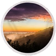 Mist Rising At Dusk Round Beach Towel