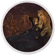 Round Beach Towel featuring the photograph Mister Majestic by David Andersen
