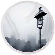 Misty City Round Beach Towel