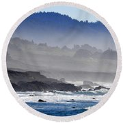 Misty Coast Round Beach Towel