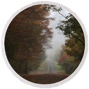 Misty Fall Morning Round Beach Towel