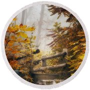Misty Footbridge Round Beach Towel
