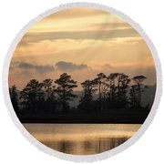 Misty Island Of Assawoman Bay Round Beach Towel