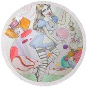 Misty Kay In Wonderland Round Beach Towel by Jimmy Adams