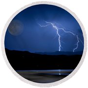 Misty Lake Full Moon Lightning Storm Fine Art Photo Round Beach Towel