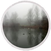 Misty Lake Reflections Round Beach Towel