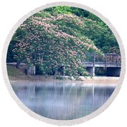 Misty Mimosa Reflections Round Beach Towel