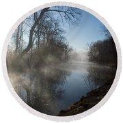 Misty Morning Along James River Round Beach Towel by Jennifer White