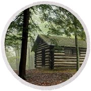Misty Morning Cabin Round Beach Towel by Suzanne Stout
