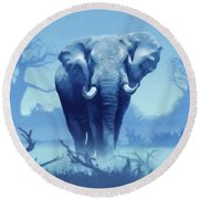 Misty Morning In The Tsavo Round Beach Towel by Anthony Mwangi