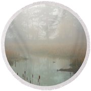 Round Beach Towel featuring the photograph Misty Morning by Jordan Blackstone