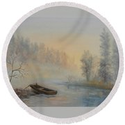 Misty Morning Round Beach Towel