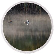 Misty Morning Mergansers Round Beach Towel