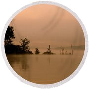 Misty Morning Solitude  Round Beach Towel