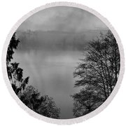 Misty Morning Sunrise Black And White Art Prints Round Beach Towel