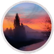 Misty Mountain Morning Round Beach Towel by Tikvah's Hope