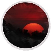 Round Beach Towel featuring the photograph Misty Mountain Sunrise by Kathy Baccari