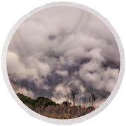 Round Beach Towel featuring the photograph Misty Mountains by Wallaroo Images