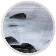 Misty Rocks Round Beach Towel