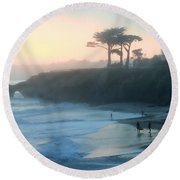 Misty Santa Cruz Round Beach Towel by Art Block Collections