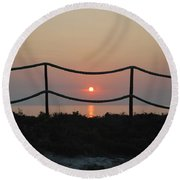 Misty Sunset 1 Round Beach Towel by George Katechis