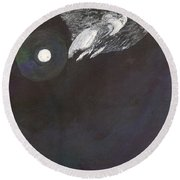 Round Beach Towel featuring the painting Misty Twinight by Kim Pate