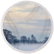 Misty Winter Day Round Beach Towel