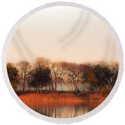Misty Winter's Morning Round Beach Towel by Angela DeFrias