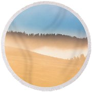 Misty Yellowstone   Round Beach Towel