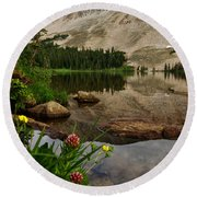 Mitchell Lake Reflections Round Beach Towel