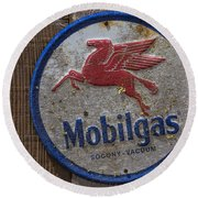 Mobil Gas Sign Round Beach Towel