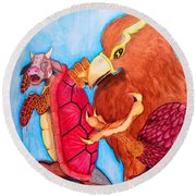 Mock Turtle And Griffon Round Beach Towel