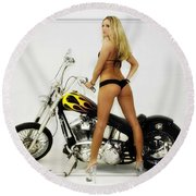 Models And Motorcycles_j Round Beach Towel