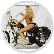 Models And Motorcycles_k Round Beach Towel