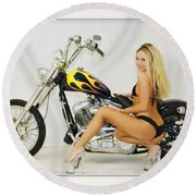 Models And Motorcycles_l Round Beach Towel