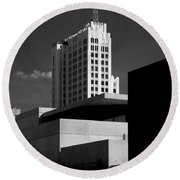 Modern Art Deco Architecture Black White Round Beach Towel