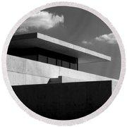 Modern Concrete Architecture Clouds Black White Round Beach Towel
