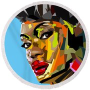 Round Beach Towel featuring the digital art Modern Woman by Anthony Mwangi