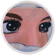 Round Beach Towel featuring the painting Modesty by Marisela Mungia