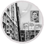 Modica Market - Black And White Round Beach Towel by Shelby  Young