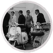 Mods And Suits Round Beach Towel