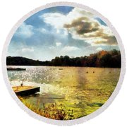 Mohegan Lake Gold Round Beach Towel