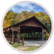 Mohican Covered Bridge Round Beach Towel