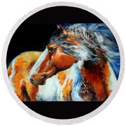 Mohican The Indian War Pony Round Beach Towel