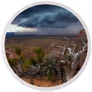 Moki Dugway Thunderstorm - Southern Utah Round Beach Towel
