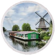 Molen Van Sloten And River Round Beach Towel