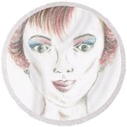 Round Beach Towel featuring the drawing Mollys Makeover/ Pink Day by Teresa White