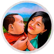 Mom And Babe Round Beach Towel by Cyril Maza