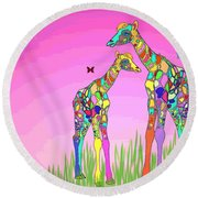 Mom And Baby Giraffe Unconditional Love Round Beach Towel