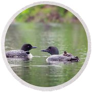 Mom And Dad Loon With Baby On Back Round Beach Towel